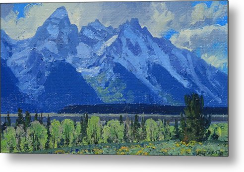 Landscape Metal Print featuring the painting Glacier Gulch by Lanny Grant