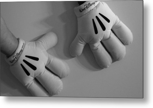 Black And White Metal Print featuring the photograph Mickeys Hands by Rob Hans