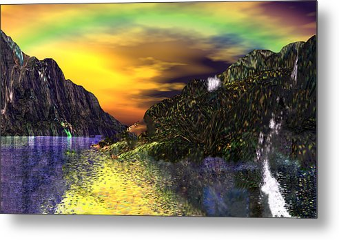 3d Metal Print featuring the digital art Sunset Over Paradise by Rebecca Phillips