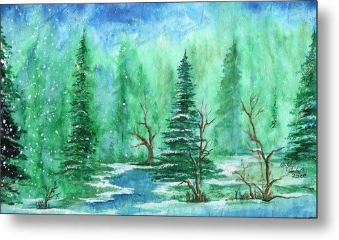 Nature Metal Print featuring the painting Winter Walk A by Mikel Zuiderveen