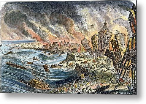1755 Metal Print featuring the photograph Lisbon Earthquake, 1755 by Granger