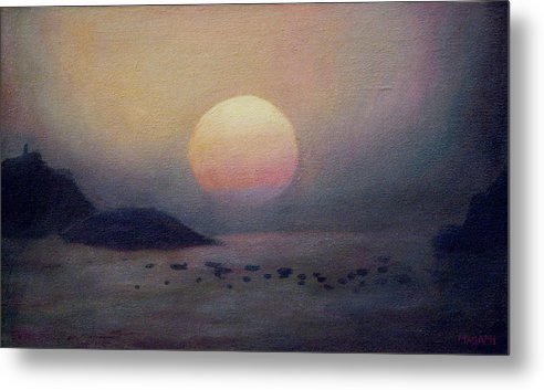 Sea Metal Print featuring the painting Sunset by Masami Iida