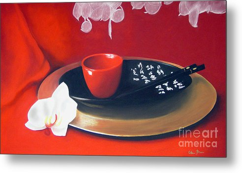 Still Life Metal Print featuring the painting Chopsticks by Colleen Brown