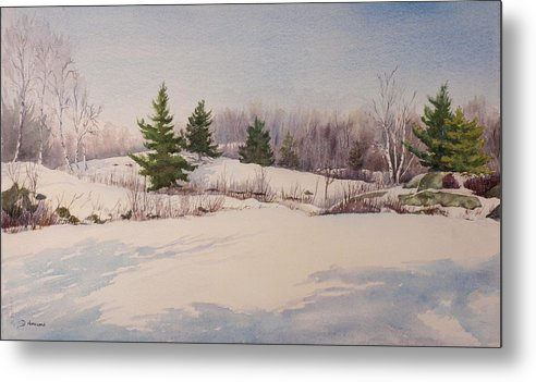 Shadows Metal Print featuring the painting Shadows On Snow In The Canadian Shield by Debbie Homewood