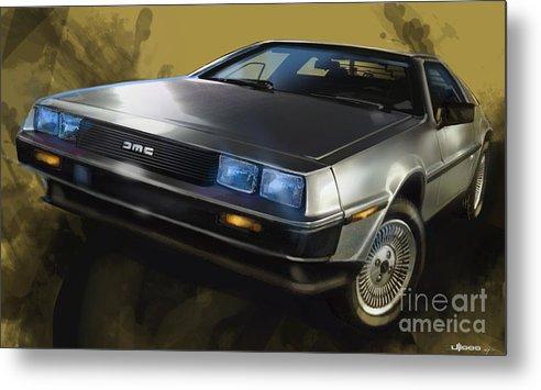 Classic Cars Metal Print featuring the digital art Dmc Sports Car by Uli Gonzalez