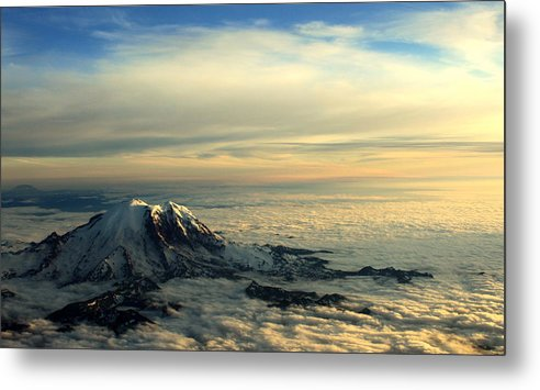 Mountains Metal Print featuring the photograph Last Light On Rainier II by Shelley Dick
