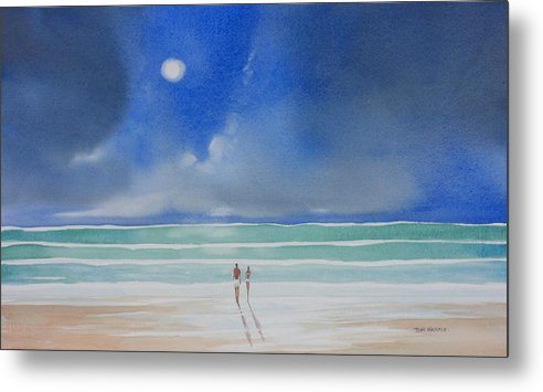 Moonlight Metal Print featuring the painting Moonlight At The Beach II by Tom Harris