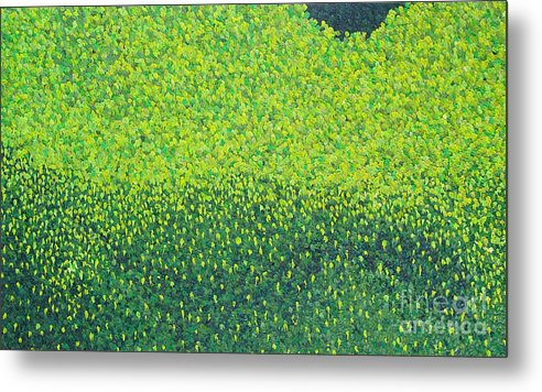 Abstract Metal Print featuring the painting Soft Green Wet Trees by Dean Triolo