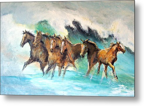 Running Horses Metal Print featuring the painting Ghost Horses In Maui Shorebreak by Paul Miller