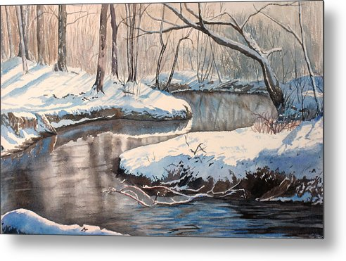 Snow Metal Print featuring the painting Snow On Riverbank by Debbie Homewood