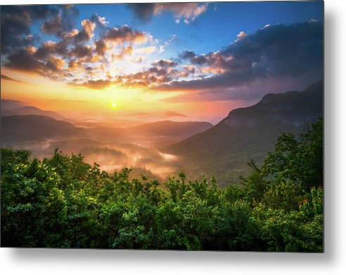 Sunset Metal Print featuring the photograph Highlands Sunrise - Whitesides Mountain In Highlands Nc by Dave Allen