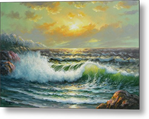 Seascape Metal Print featuring the painting Near Bella Coolla by Imagine Art Works Studio