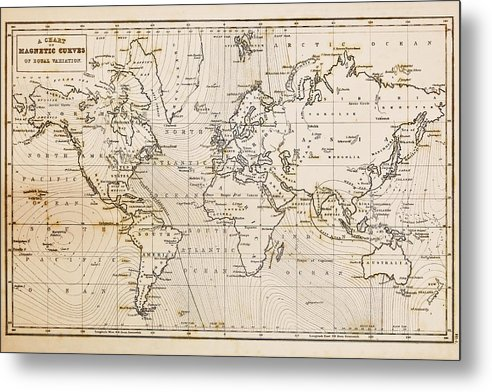 Old Hand Drawn Vintage World Map Metal Print by Richard Thomas