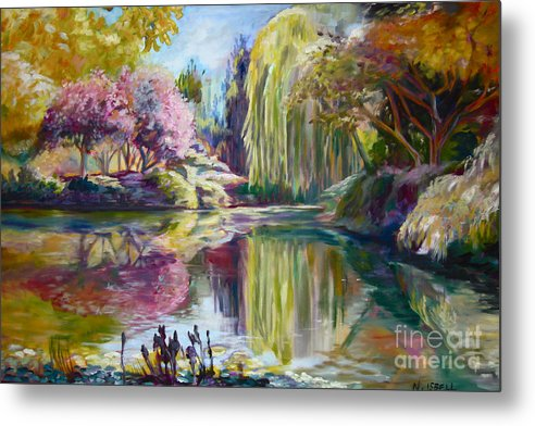 Landscape Metal Print featuring the painting Peaceful Garden by Nancy Isbell
