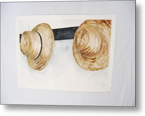 Shaker Mens' Hats On Pegs Metal Print featuring the painting Shaker Mens' Hats by Marti Kuehn