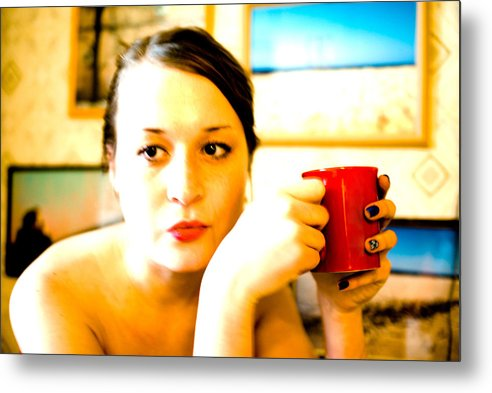 The Girl Metal Print featuring the photograph The Girl With A Red Cup by Vadim Grabbe