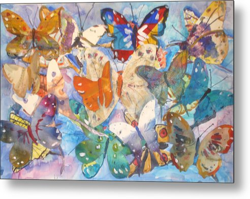 Collage Metal Print featuring the painting Collage Of Butterflies by Joyce Kanyuk