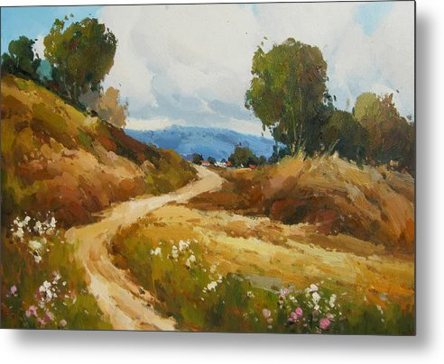 Landscape Metal Print featuring the painting Back Roads by Imagine Art Works Studio