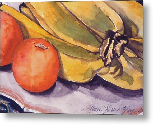 Still-life Metal Print featuring the painting Bananas And Blood Oranges Still-life by Caron Sloan Zuger