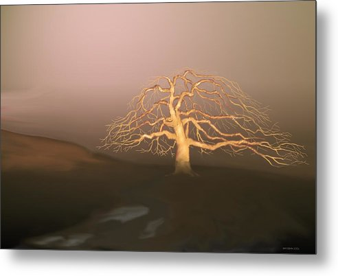 Tree Metal Print featuring the digital art Tree In Winter I by Kerry Beverly