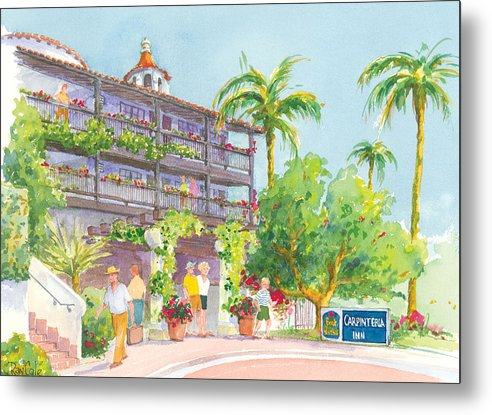 Best Western Metal Print featuring the painting Carpinteria Best Western by Ray Cole