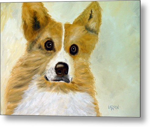 Metal Print featuring the painting Corgi by Dick Larsen