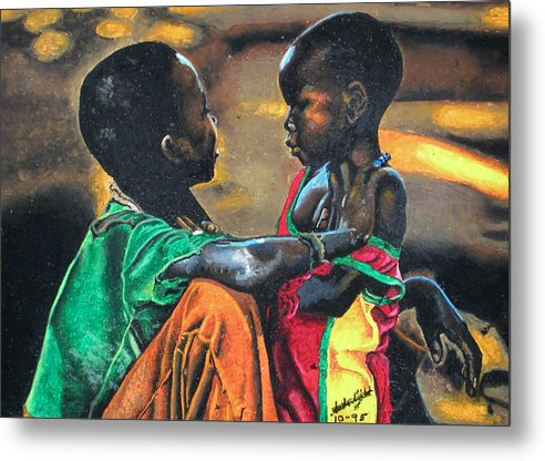 Black Art Metal Print featuring the pastel My Brothers Keeper by Andre Ajibade