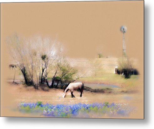Texas Horses Pasture Bluebonnets Windmill Landscape Metal Print featuring the painting Taking It Slow And Easy by Carolyn Staut
