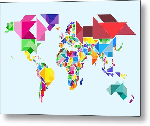 Tangram Map Metal Print featuring the digital art Tangram Abstract World Map by Michael Tompsett