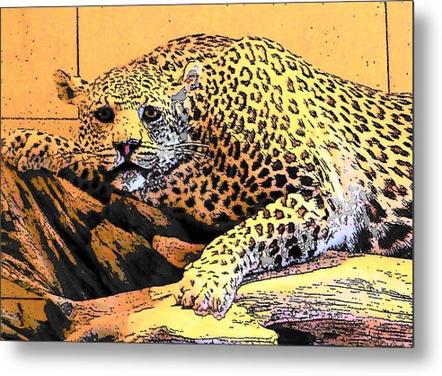 Leopard Metal Print featuring the photograph Predatory by Mark Cheney