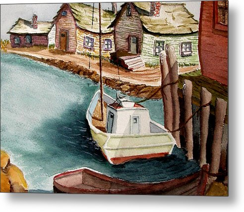 Fishing Village Metal Print featuring the painting Bright Morning by Robert Thomaston