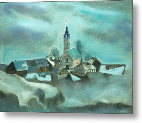 Village Metal Print featuring the pastel My Village by Aymeric NOA