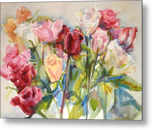 Roses Metal Print featuring the painting Paul's Roses by Joyce Kanyuk
