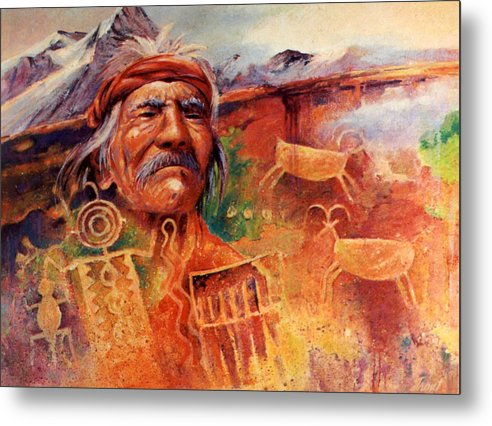Indian Metal Print featuring the painting Rock Art by Don Trout