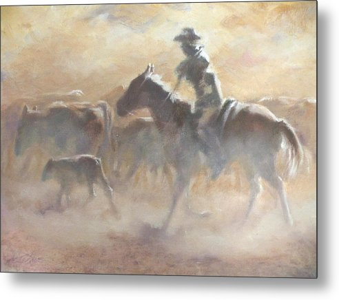 Cowboys Metal Print featuring the painting Burning Daylight by Mia DeLode
