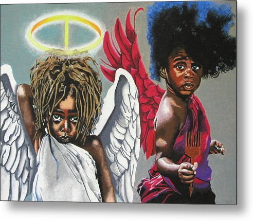 Black Art Metal Print featuring the painting Hells Little Angels by Andre Ajibade