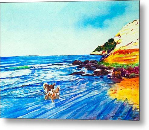 Seascape Metal Print featuring the painting In Paradise Of Dogs by Aymeric NOA