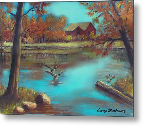 Lake Landscape Metal Print featuring the print Muskego Lake by George Markiewicz