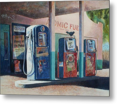 Nostalgic Genre Metal Print featuring the painting Out Of Gas by Don Trout