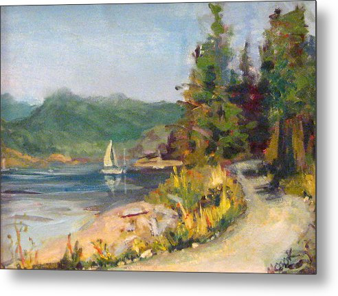 Plein Air Metal Print featuring the painting Sailboat At Rebecca Spit by Nanci Cook