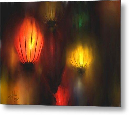Lanterns Metal Print featuring the painting Orange Lantern by Stephen Lucas