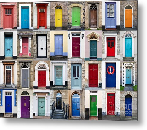 Door Metal Print featuring the photograph 32 Front Doors Horizontal Collage by Richard Thomas
