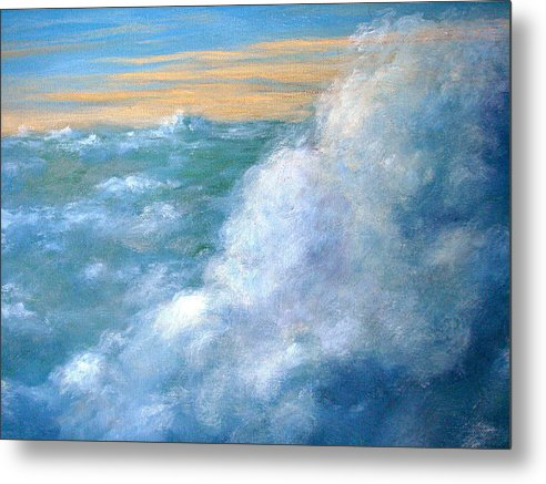 Landscape Metal Print featuring the painting Above The Clouds by Jeannette Ulrich