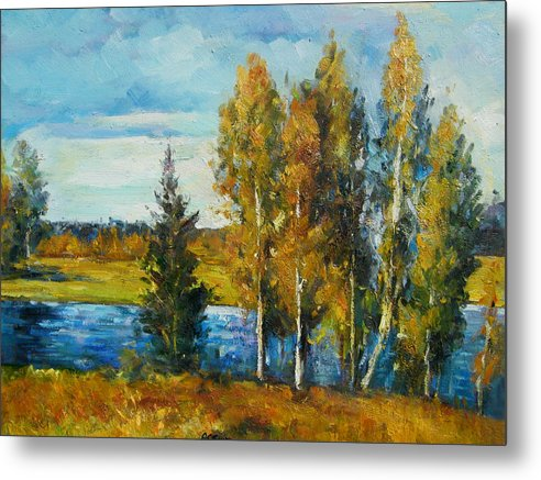 Landscape Metal Print featuring the painting Cariboo Fall by Imagine Art Works Studio