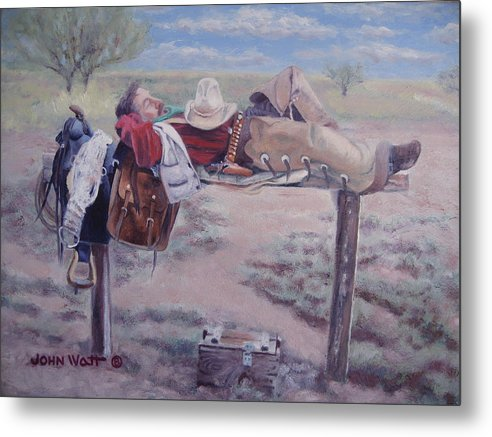 Empire Ranch Cowboy Metal Print featuring the painting Select Comfort by John Watt