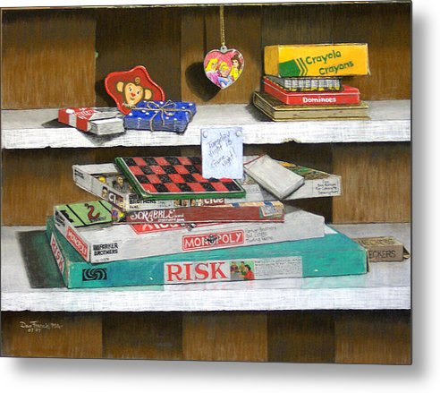 Still Life Metal Print featuring the painting The Game Shelf by David Francis
