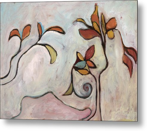 Abstract Metal Print featuring the painting Weeds3 by Michelle Spiziri