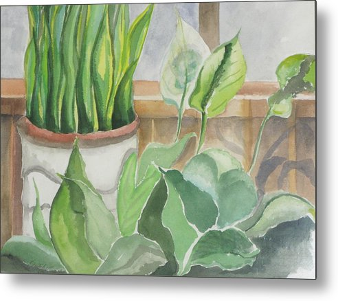 Still Life Metal Print featuring the painting Wintergarten by Kathy Mitchell
