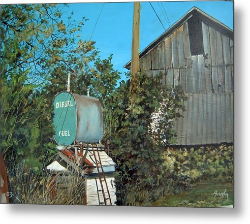 Barn Metal Print featuring the painting Diesel Fuel by William Brody