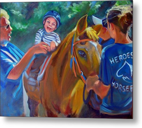Horse Metal Print featuring the painting Heroes On Horseback by Kaytee Esser